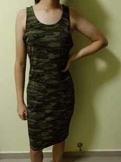 camo mesh sleeveless dress