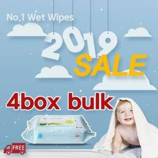 4 Boxes BULK SALE! FREE QXPRESS COURIER- Cheapest Jeju Island Wet Wipes (Refill Type)- Made in Korea- Fresh Stock [Made in Mar 2019]