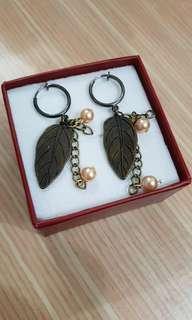 葉子夾式耳環