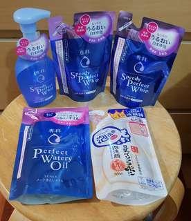 Shiseido Senka Speedy Perfect Whip & Perfect Watery Oil  & SANA Soy Milk Facial Wash
