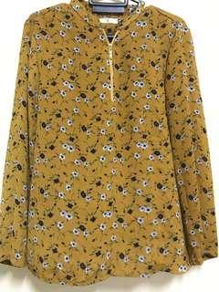 Mustard Flowery Blouse