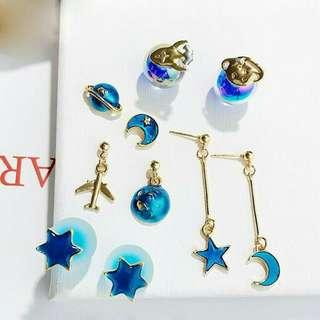 BUY 1 GET 1 FREE ✨Asymmetrical Dreamy star moon world plane earrings ear stud pendant
