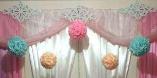 Organza Cloths, Flower Balls, Ikea Frame - Wedding Props