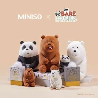 "We bare bears 11"" Inches Miniso Japan"