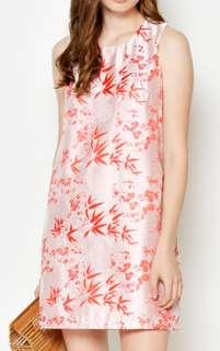 EILEY BROCADE SHIFT DRESS RED for CNY