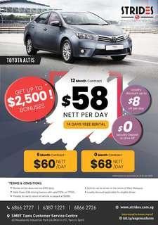 CNY PROMO! Toyota Altis @ $27* /day. Limited units.