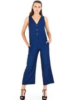 NEW Navy jumpsuit cullotes cullote long sleeveless terusan kulot kanvas overall canvas cotton size S button front v-neck v neck dress