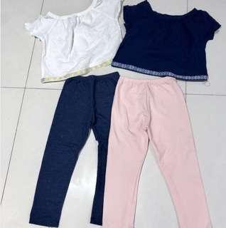 2 sets of Girl pants and tops