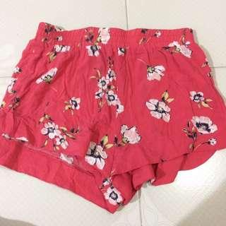 Factorie Red Floral Shorts