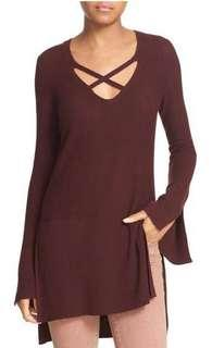 Free People criss cross burgundy sweater