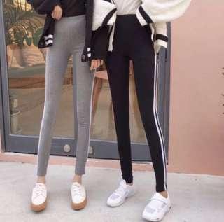 🚚 INSTOCK minimalist black grey stripe streetwear leggings / jeggings / long pants