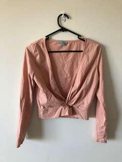 Baby pink front knot top