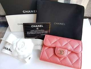 Authentic Chanel XL pink Cavier Leather Wallet