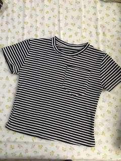 Black and White Stripes Ribbed Tee