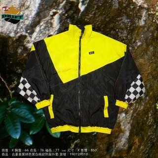 古著黃黑拼色黑白格紋防風外套