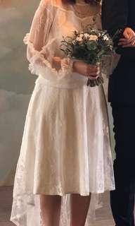 輕婚紗 wedding dress bridal gown mi-tu 兩件 two piece 微胖女 顯瘦 中大碼 租借 出租