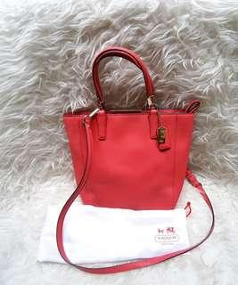 Authentic Coach in Soft Red Sling Bag in Saffiano Leather💝💞💘