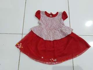 Dress import merah 1-2 years