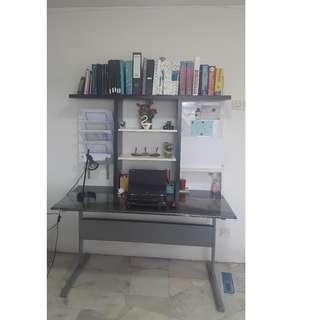 Study table and a desk lamp