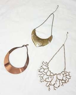 Gold and copper necklaces