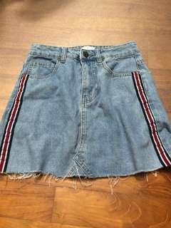 side stripe denim a line skirt