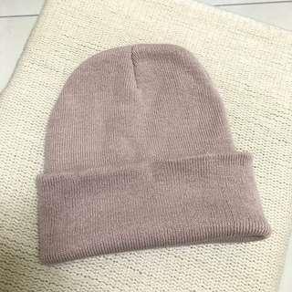 杏色針織毛帽