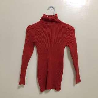 棗紅針織高領貼身毛衣