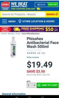 Phisohex Antibacterial Face Wash 500ml