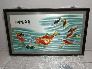 🚚 1 x used KOI fish painting with frame in good condition with free delivery