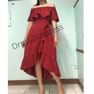 Clei Offshoulder ruffles assymetric wrap dress gown red nude black white