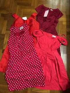 🚚 Cny Bundle Sale Red Dresses Lilypirates, Megagamie, Blush Inc Size S