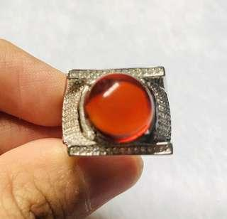 🚚 Burma Red Amber with size adjustable 925 silver ring