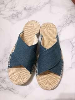 日系牛仔平底涼鞋