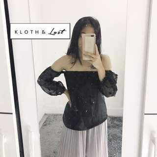 Baju sabrina hitam (local brand)