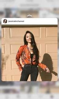 Orange silky shirt