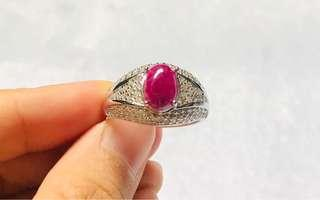 🚚 Natural Burma ruby, Original..with size 11' 925 Silver ring
