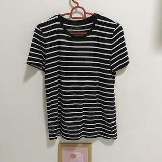 Muji black and white striped tee