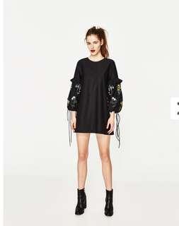 🚚 ZARA black poplin dress with embroidered puff sleeve