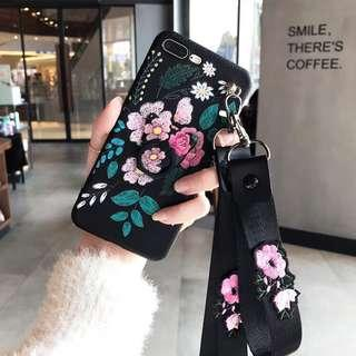 Litchi Pattern Flower Ring Stand Case iPhone