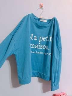 🚚 全新字母t恤 短版 藍