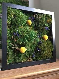 Moss Wall Art ~ REAL Preserved Moss Garden Blooms Green
