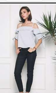 🚚 🔥BRAND NEW Hollyhoque Cold Shoulder Blouse in Light Grey