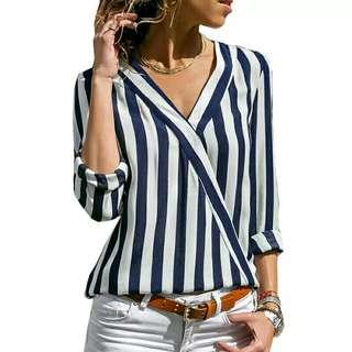 🚚 Women Striped Blouse Shirt Long Sleeve Blouse V-neck Shirts Casual Tops Blouse