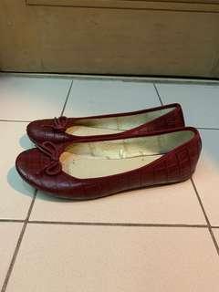 Marcha Red Snake Embossed Ballet Flats