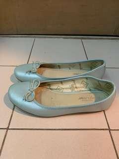 Marcha Metallic Light Blue Ballet Flats