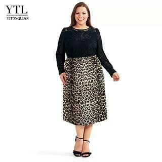 🚚 Vintage Plus Size Skirts for Women 4XL 5XL 6XL 8XL Leopard Print Comfortable Casual High Waist Straight Stretch Long Skirt