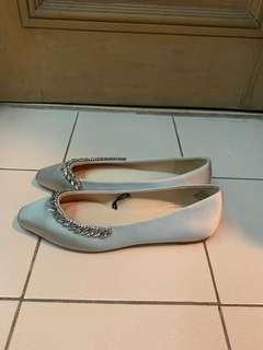 H&M Silver Embellished Ballet Flats