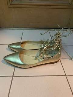 Zara Gold Strappy Ballet Flats