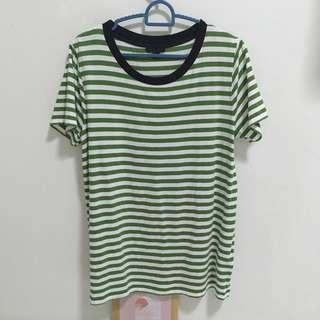 COS green and white stripe t shirt
