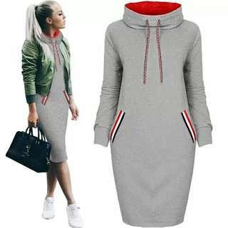 🚚 Women Autumn Winter Midi Dress Slim Casual Solid Long Sleeve With Pocket Hoodie Hoody Dresses S-3XL  Bodycon Warm Dress